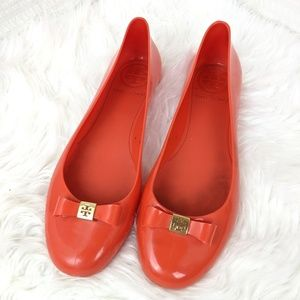 Tory Burch | Coral Red Jelly Bow Ballet Flats 10